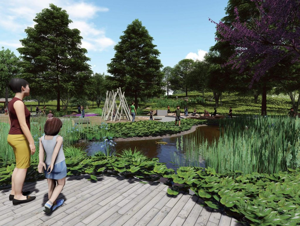The wetland area within the Nature Play Area, showcasing the ease of access no matter one's ability